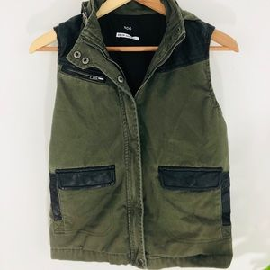 BDG green faux leather hooded vest